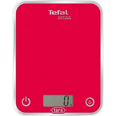 Tefal BC5003 Optiss-Báscula de Cocina, Color Rojo, Cristal esmaltado