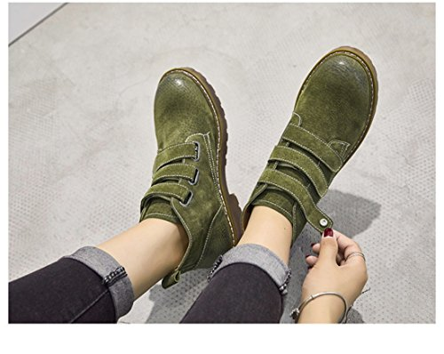 Velcro Green Ankle Women's Faux Martin Heels Winter Autumn Suede Boots Casual Leather TDA Chunky Retro WXqHB6Ha