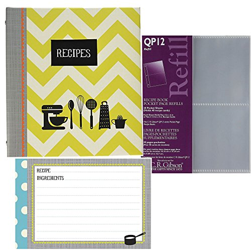 C.R. Gibson Kitchen Gear Recipe Binder Bundle with Bonus Refill Sheets & Recipe Cards, 3 Items. Recipe Binder measures 9'' x 9.5'' by C.R. Gibson