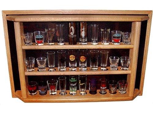 30 Shot Glass/Shooter Display Case - Enclosed Cabinet Rack Holder, Ebony