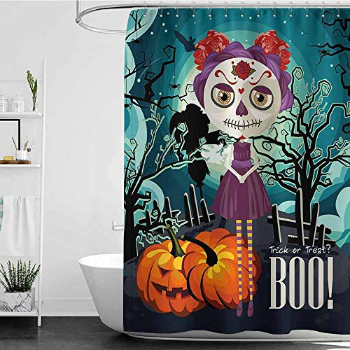 Tim1Beve Funny Shower Curtain,Halloween Cartoon Girl with Sugar Skull Makeup Retro Seasonal Artwork Swirled Trees Boo,Art Print Polyester,W72x72L Multicolor]()