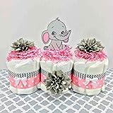Girl Elephant Baby Shower Mini Diaper Cake Centerpiece Set, Pink, Gray, White