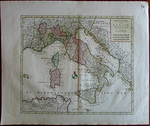 Italy Nieuwe Kaart c.1769 by Isaac Tirion antique folio map -see Koeman Tir 4