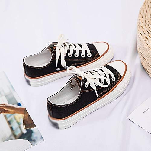 Per Low Black top Up Sneakers Confortevole Donna Casual Camminare Moda Da Tela Lace qOv6xFW