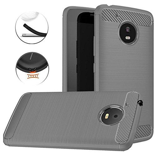 Moto E4 Plus Case, Dretal Carbon Fiber Shock Resistant Brushed Texture Soft TPU Phone case Anti-Fingerprint Flexible Full-Body Protective Cover for Motorola Moto E4 Plus USA Version (Gray)