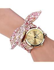 changeshopping(TM) Women Girl Floral Jacquard Cloth Bracelet Wristwatch (pink)