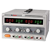 Dr.meter HY3005F-3 Variable Triple Linear DC Power Supply, 0 - 30V, 0 - 5A with Alligator Cable and Power Cord