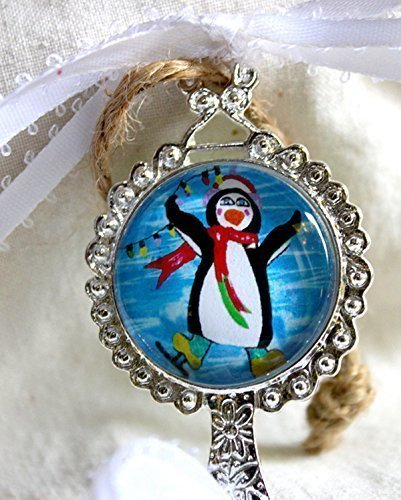 (Christmas Holiday Handmade Ornament Double-Sided Glass Tile in ornate Silver Metal Setting with Penguin Ice Skating Original Art Painting, Christmas is for Fun Saying Quote, Ribbons, Beads)