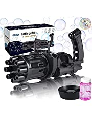 EMOCCI Bubble Gun Gatling Bubble Machine, Automatic Bubble Blaster 2021 New Cool Toy Bubble Party Favors for Kids Outdoor - 8 Holes Electric Bubble Maker Machine - 3AA Batteries Powered(Not Included)