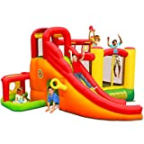 Costzon Inflatable Bounce House, 11 in 1 Mighty Kids Jump and Slide Castle w/ Climbing Wall, Tunnel, Basketball Hoop, Playing Area, Including Oxford Carry Bag, Repairing Kit, Stakes, 780W Air Blower