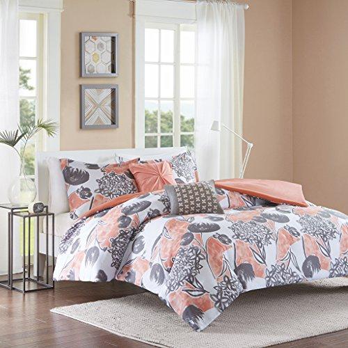 Intelligent Design Marie Teen Girls Duvet Cover Set Full/Queen Size - Coral, Grey, Brushed Floral – 5 Piece Duvet Covers Bedding Sets – Ultra Soft Microfiber Girls Bedding Bed Sets (Flamingo Coral)