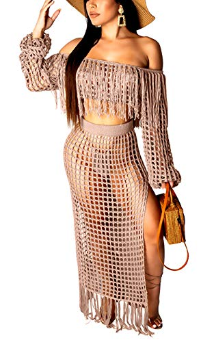 Women's Sexy Tassel Cover Up - Two Piece Hollow Out Off Shoulder Crop Top + High Slit Maxi Skirt XX-Large Red Grey
