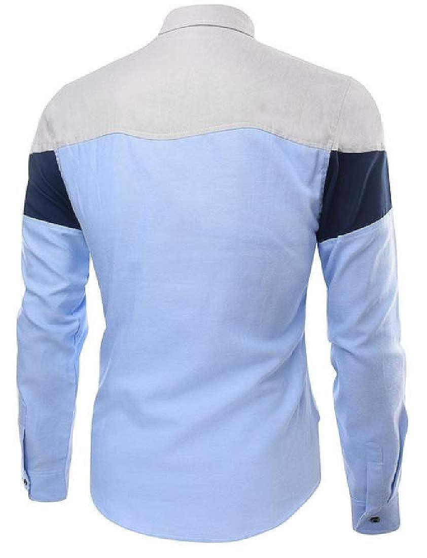 Hajotrawa Mens Business Lapel Neck Contrast Color Curved Hem Button Down Shirts