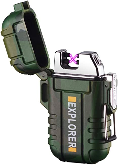 Electric Lighters Rechargeable Plasma Lighter Windproof Arc Lighter with Led Flashlight Outdoor 2 in 1