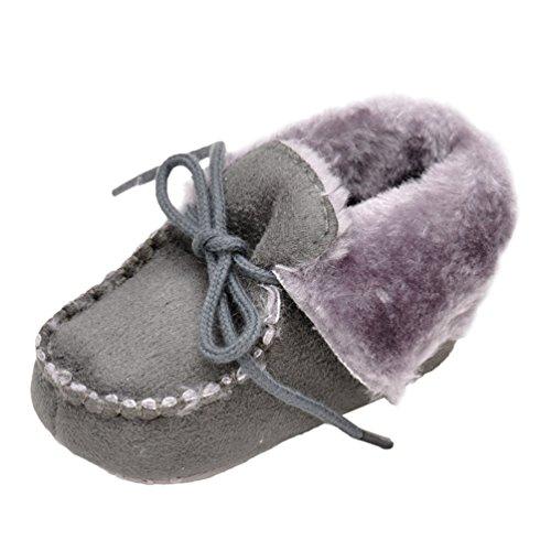 CHENGYANG Baby Mädchen Winter Warm Schnee Stiefel Prewalker Kind-Schuh Rutschfest Lauflernschuhe Dunkel Grau#14