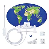 ANTOP Indoor Paper Thin HDTV Antenna -Smartpass Amplified TV Antenna Indoor 50 Mile Range, Omni-Directional Reception with 10ft Coaxial Cable, 3D World Map Design