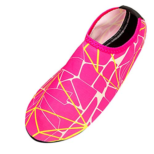 Msanlixian New 2019 New Shoes Men Summer Striped Beach Shoes Swimming Diving Socks Drifting River Wading Men's Shoes Casual Shoes Hot Pink 36]()