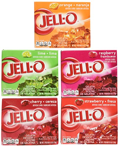 Jell-O Variety Pack Orange Cherry Lime Strawberry Raspberry 6 oz (5-Pack)