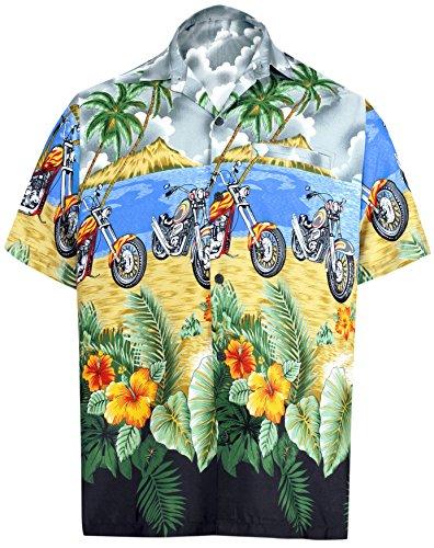 LA LEELA Likre Aloha Short Sleeve Beach Shirt Grey 337 6XL | Chest 68