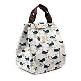 Victing Cute Reusable Insulated Lunch Bag Tote Soft Cooler Carry Bag for Travel and Picnic (Whale)