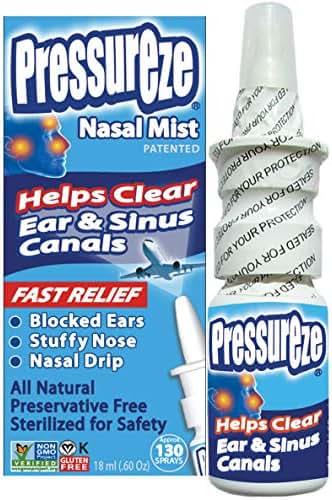 Pressureze Nasal Spray - 18 ml (130 Sprays) - Fast, Natural Relief from Sinus & Ear Pressure symptoms, Congestion, Stuffy Nose, Blocked Ears, Nasal Drip