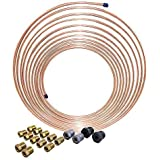 25 ft 3/16 in Copper-Nickel Coil Brake Line Complete Replacement Tubing Kit (Includes 16 Fittings) – Inverted Flare, SAE Thread