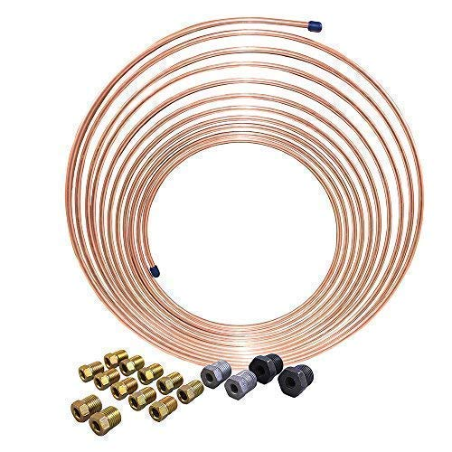 25 ft 3/16 in Copper-Nickel Coil Brake Line Complete Replacement Tubing Kit (Includes 16 Fittings) - Inverted Flare, SAE Thread