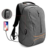 "Laptop Backpack, SPARIN Business Travel 15.6"" Computer backpack Anti-theft Water Resistant Classic Nylon College School Bookbag with USB Charging Port for Men Women, Grey"