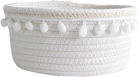 LABAICAI Cuerda de algodón Cestas de Almacenamiento con pompón Ropa Tejida Hecha a Mano Ropa Sucia Canasta de lavandería Juguete for niños Misceláneas de Escritorio Organizador Cesto (Color : White): Amazon.es: Hogar