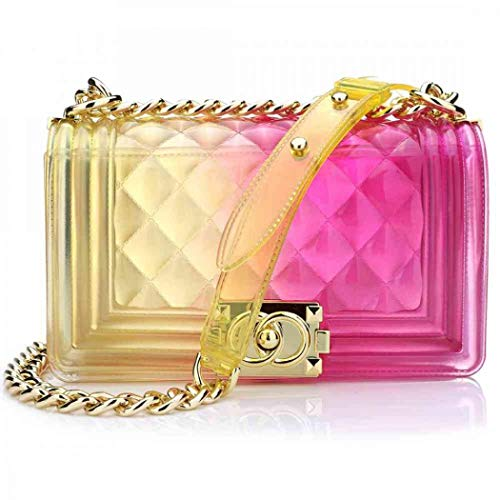 - Peudo Women Transparent Jelly Messenger Bag Lady Gradient Candy Color Shoulder Purses Mini Crossbody Bag with Chain (Yellow,Large size 250x150x80mm)