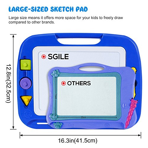 SGILE Magnetic Drawing Board, 13X16 Non-Toxic Big Magnetic Erasable Magna Doodle Toy, Assorted Colors Writing Painting Sketching Pad for Toddler Boy Girl Kids Skill Development, Blue( Extra Large) by SGILE (Image #1)