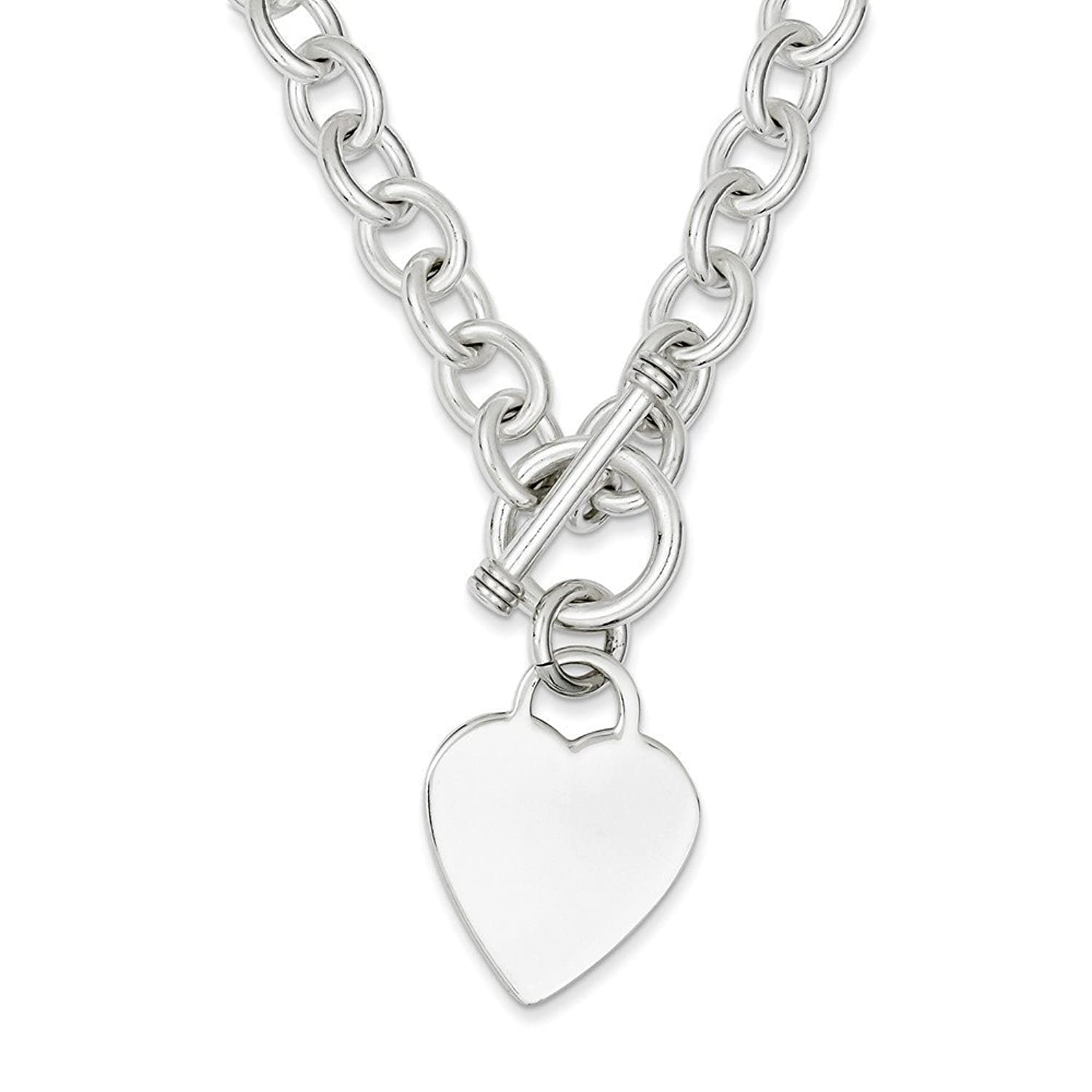 Sterling Silver Heart Fancy Link Toggle Necklace 18 Inches