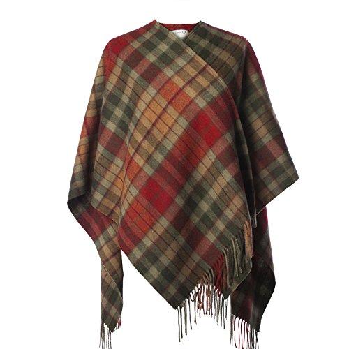 Edinburgh 100% Lambswool Scottish Tartan Mini Cape Buchanan Autumn (One Size)