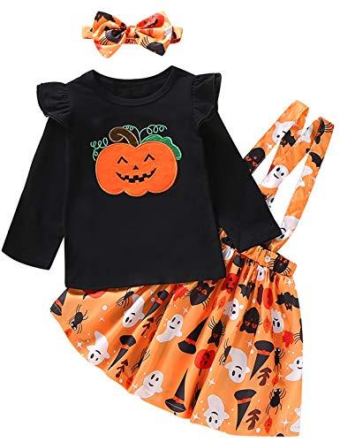 Halloween Pumpkin Dress (Toddler Girls Halloween Outfit Pumpkin Costume Dress Set (Black-Orange,)