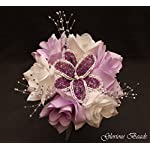 Wedding-Flower-Bouquet-Set-Lavender-Lilac-Purple-BEADED-Lily-16-PC-Set-with-FREE-Boutonnieres-Perfect-for-Quincenarea