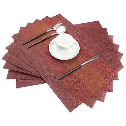 Bright Dream Placemats Washable Easy to Clean Pvc Placemat for Kitchen Table Heat-resistand Cross Weave Vinyl Round Table Mats 12x18 inches Set of 6 (Red)