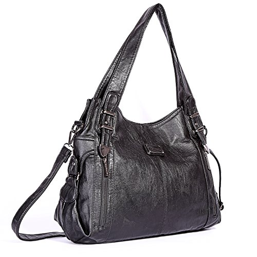 Roomy Barcelo Satchel Bag Women's 1191 Fashion Handbags Tote Multiple Ladies' Designer Bag Angel Handbag Pockets Shoulder Bag PU Black qtfwxfdO