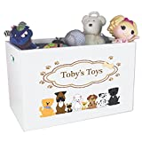 Personalized Dogs Childrens Nursery White Open Toy Box