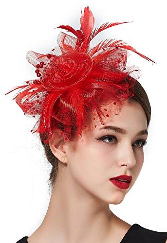 Fascinators for Women Headband Feather Flower Tea Party Derby Top Hat Headwear Wedding (Feather Hat)