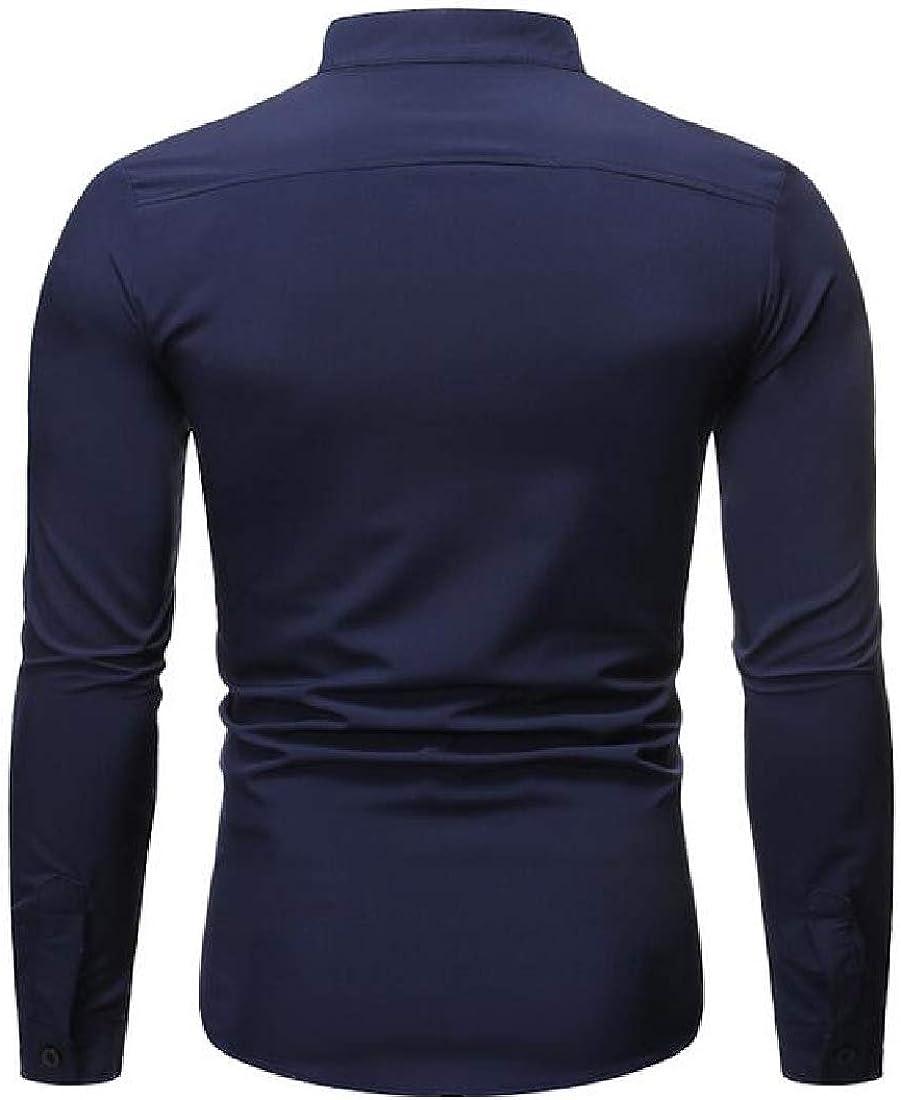 Fubotevic Men Shirts Long Sleeve Plain Stand Collar Dress Work Shirt with Pocket