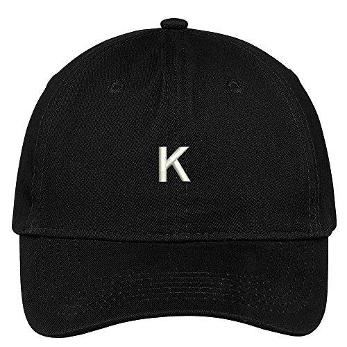 Trendy Apparel Shop Letter K Block Font Embroidered Dad Hat Cotton Baseball Cap - Black