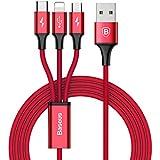 ライトニングケーブル Micro USB Type C ケーブル Baseus 3in1 ケーブル iPhone 充電ケーブル 3A急速充電 iPhone 8 8plus/7 7 plus/6 6s plus/iPad/Macbook 1本3役 多機種対応 1.2m レッド