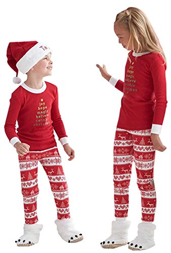 7b6a15641d Faithtur Christmas Kids Two Piece Striped Matching Family Pajama Set ...