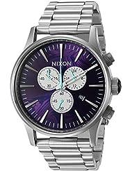 Nixon Mens Sentry Chrono, Purple Quartz Stainless Steel Watch, Color:Silver-Toned (Model: A386-230-00)
