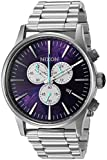 Nixon Men's 'Sentry Chrono, Purple' Quartz Stainless Steel Watch, Color:Silver-Toned (Model: A386-230-00)