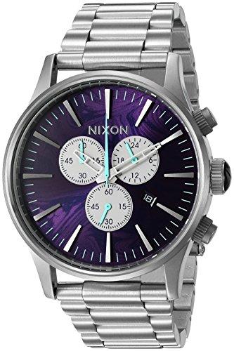 Nixon Men's 'Sentry Chrono, Purple' Quartz Stainless Steel Watch, Color:Silver-Toned (Model: A386-230-00) -