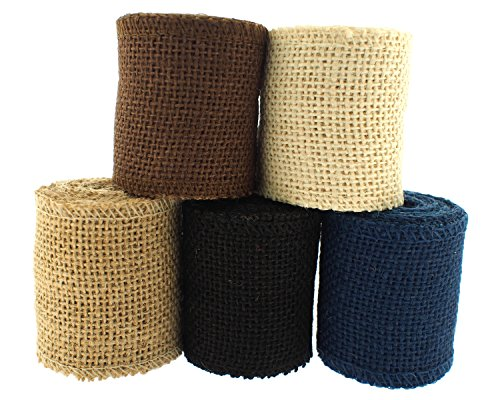Trimweaver Solid Color Burlap Ribbon Variety Pack for Craft, 2.5