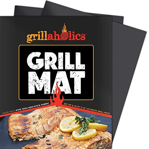 Grillaholics Grill Mat - Set of 2 Heavy Duty BBQ Grill Mats - Non Stick, Reusable, and Easy to Clean Barbecue Grilling Accessories - Lifetime Manufacturers Warranty (Broil Grills Flame)