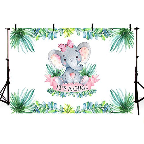 MEHOFOTO 7x5ft Elephant Girl Baby Shower Party Backdrop Pink It's A Girl Welcome Decorations Green Leaves Jungle Photography Background Photo Banner for Cake Table Supplies ()