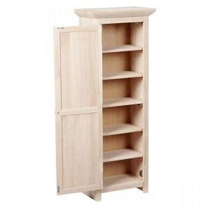 Amazon.com: Kitchen Pantry Cabinet Unfinished Wood Free ...